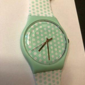 Mint Green & White Polka Dot Swatch Watch